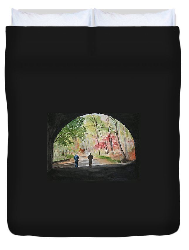 Road Duvet Cover featuring the painting On The Road To Nowhere by Jean Blackmer