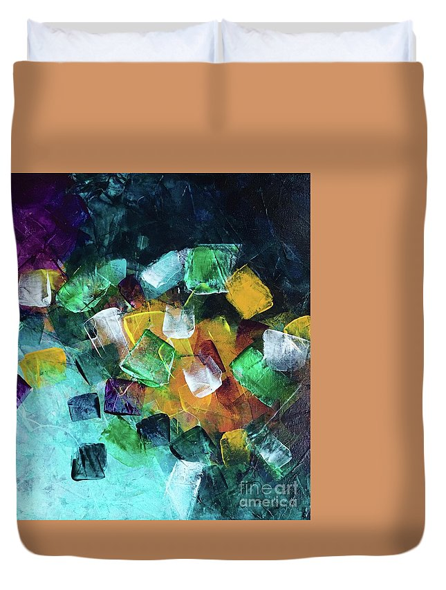 Rocks Duvet Cover featuring the painting On The Rocks by Eunice Warfel