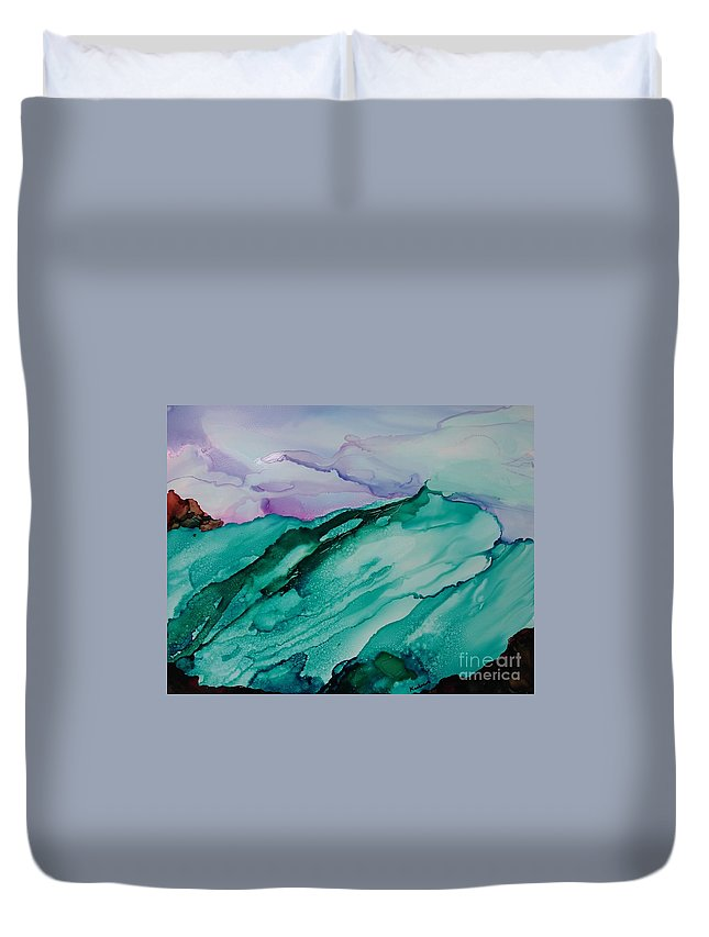 Ocean Duvet Cover featuring the painting On The Rocks by Susan Kubes
