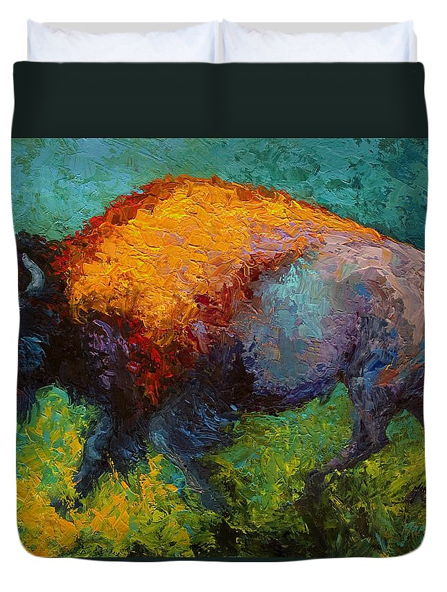 Bison Duvet Cover featuring the painting On The Run by Marion Rose