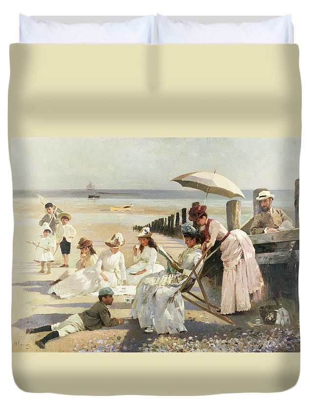 On The Shores Of Bognor Regis - Portrait Group Of The Harford Couple And Their Children Duvet Cover featuring the painting On The Shores Of Bognor Regis by Alexander M Rossi