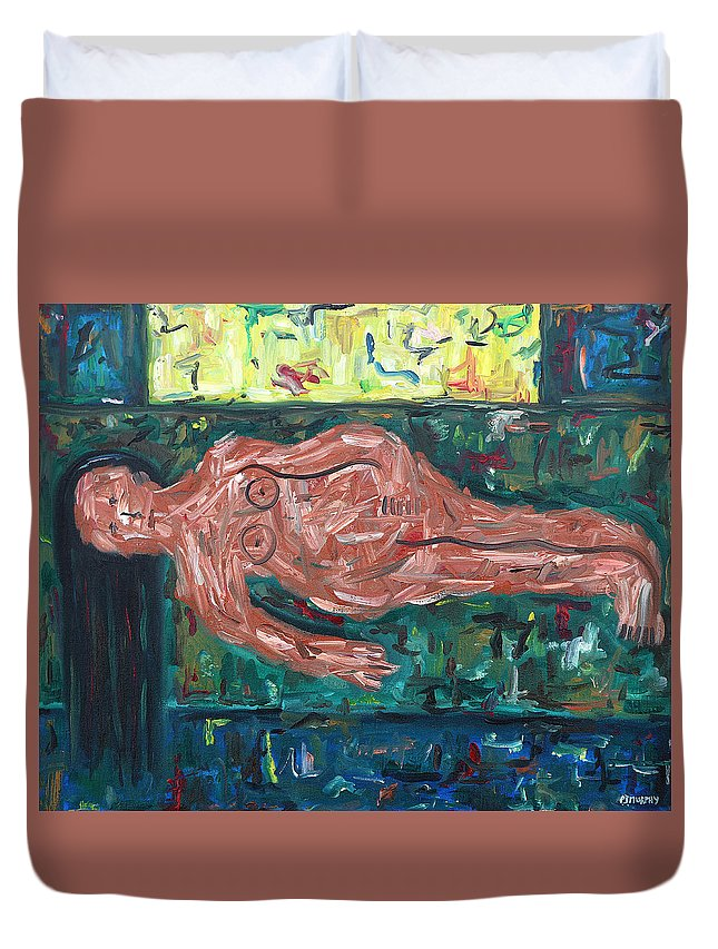 Nude Duvet Cover featuring the painting On The Sofa by Patrick J Murphy