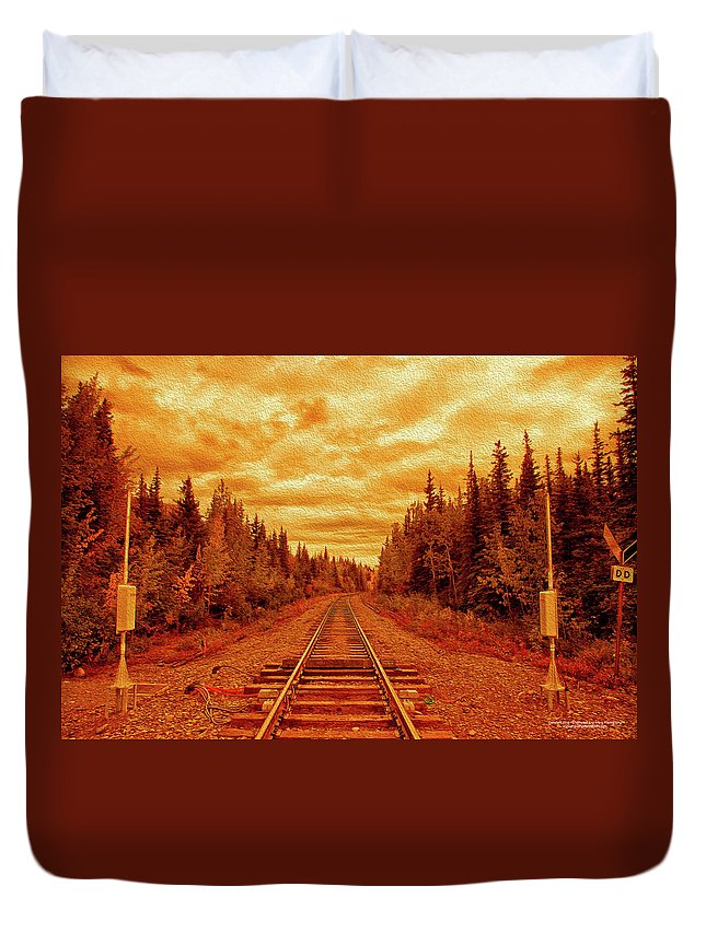 Alaska Duvet Cover featuring the digital art On The Tracks by Christopher Eng-Wong