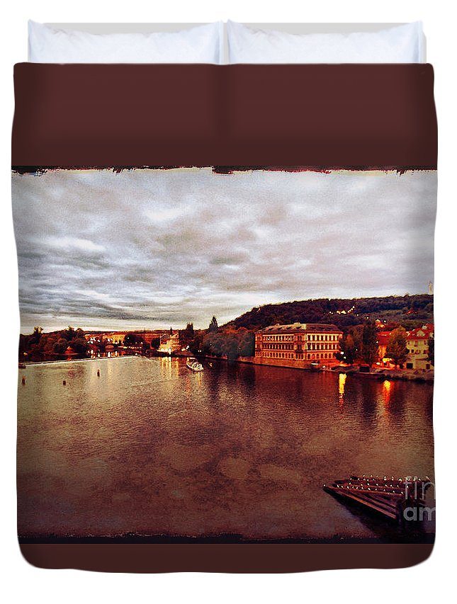 Vltava River Duvet Cover featuring the photograph On The Vltava River by Madeline Ellis