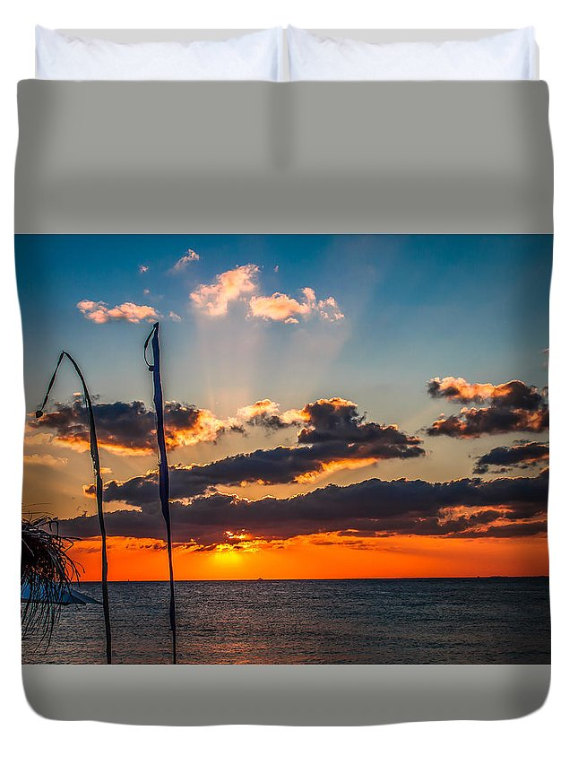 Sunset Duvet Cover featuring the photograph On The Water Front by Fred Boehm