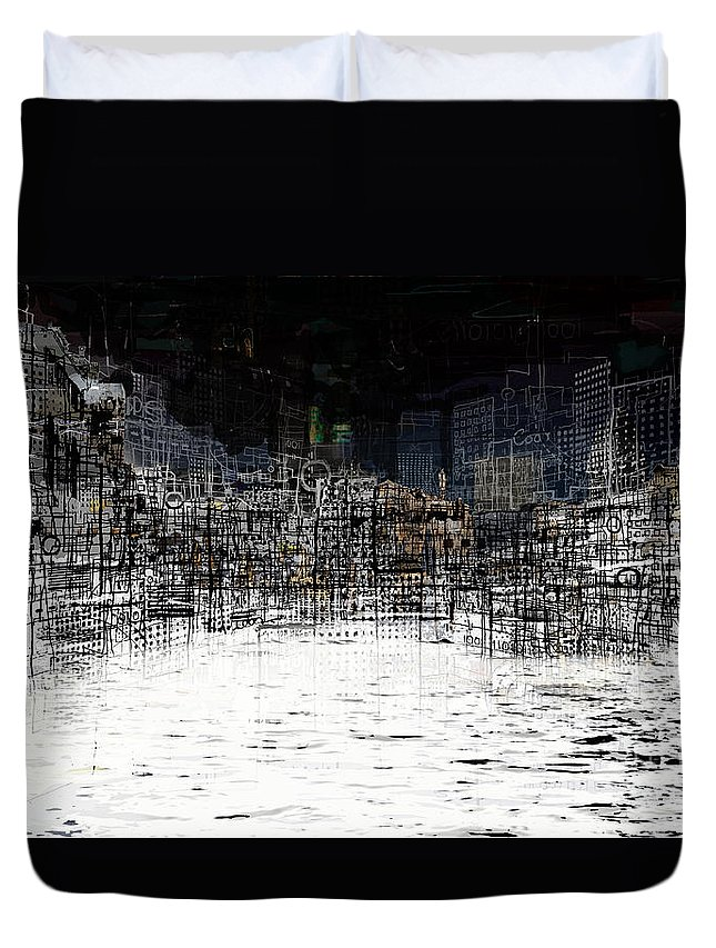 Waterfront Duvet Cover featuring the digital art On The Waterfront by Andy Mercer