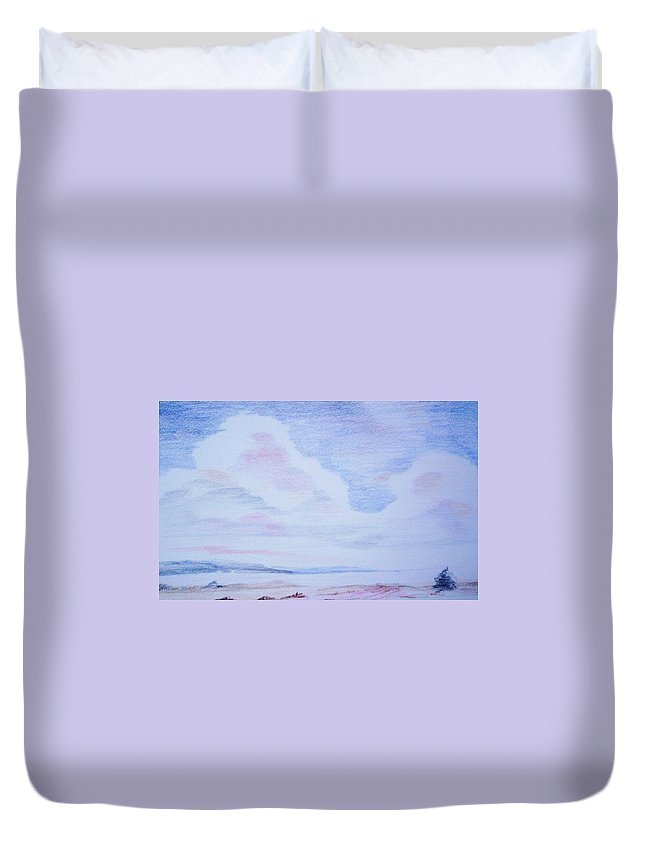 Landscape Painting Duvet Cover featuring the painting On the Way by Suzanne Udell Levinger