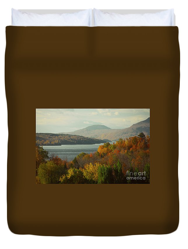 Trees Duvet Cover featuring the painting On The Way To Fall by Rod Jellison