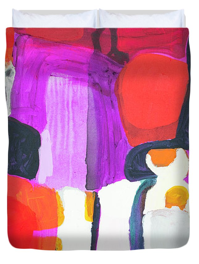 Abstract Duvet Cover featuring the painting On Time by Claire Desjardins