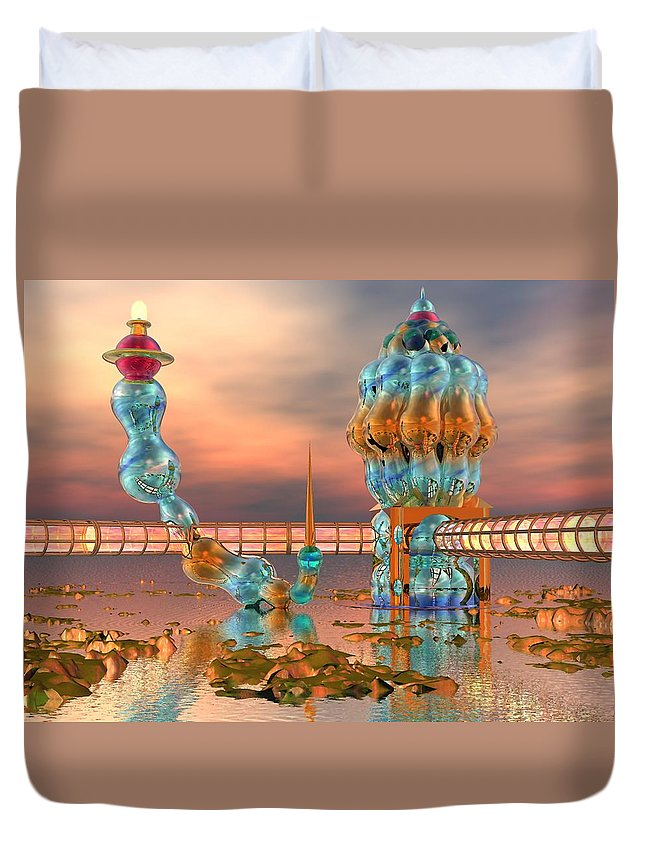 Landscape Duvet Cover featuring the digital art On Vacation by Dave Martsolf