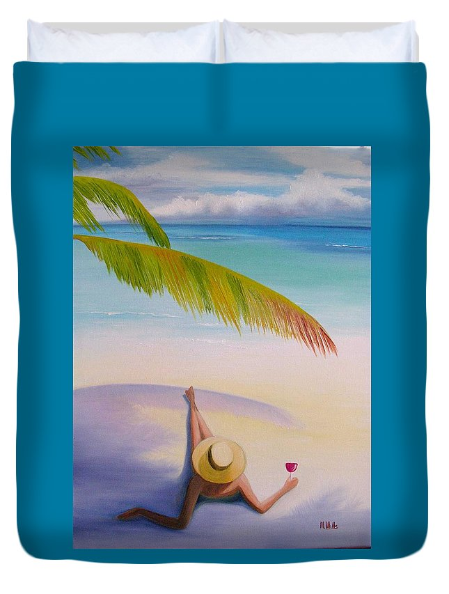 Beaches Duvet Cover featuring the painting On Vacation by Maria Mills