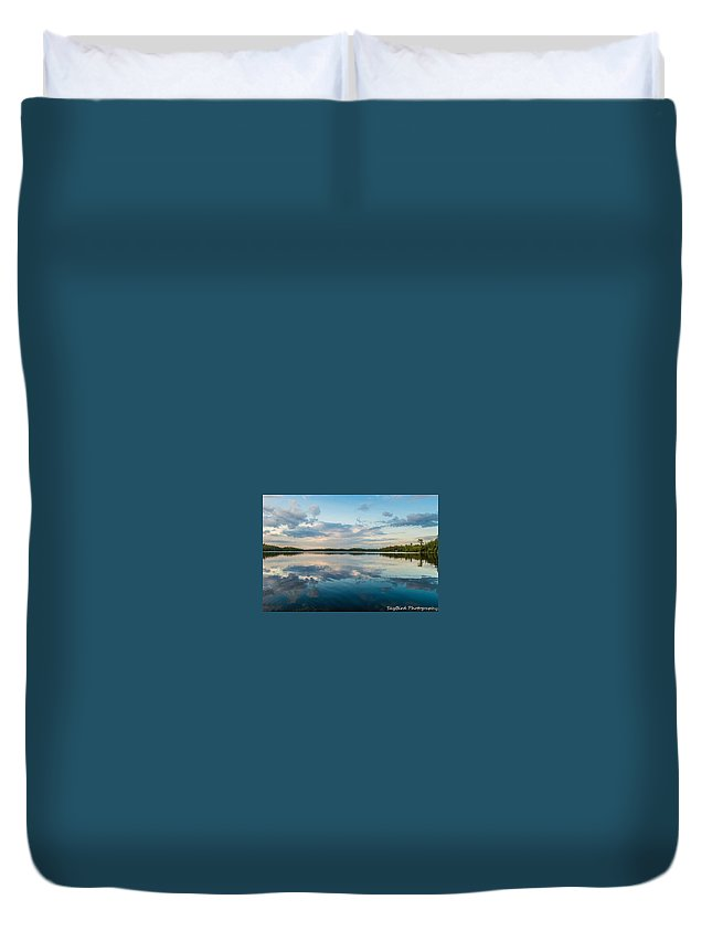 Lake Onaping Duvet Cover featuring the photograph Onaping Reflections by Megan Miller