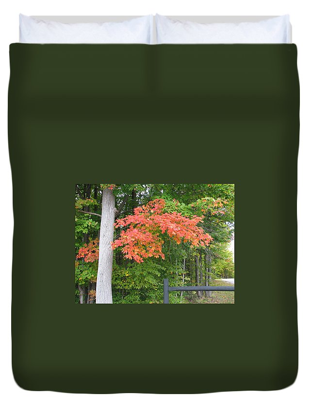 Fall Duvet Cover featuring the photograph Onaway by Kelly Mezzapelle