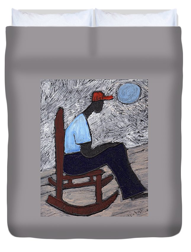 Rocking Chair Duvet Cover featuring the painting Once In A Blue Moon by Wayne Potrafka