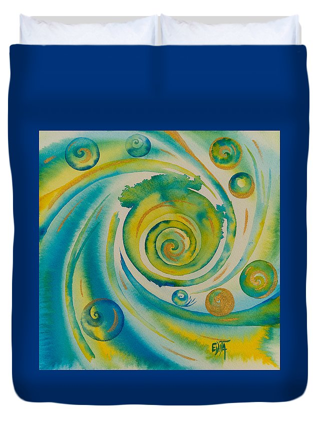 Abstract Duvet Cover featuring the painting Once Upon A Time by Evita Kristapsone