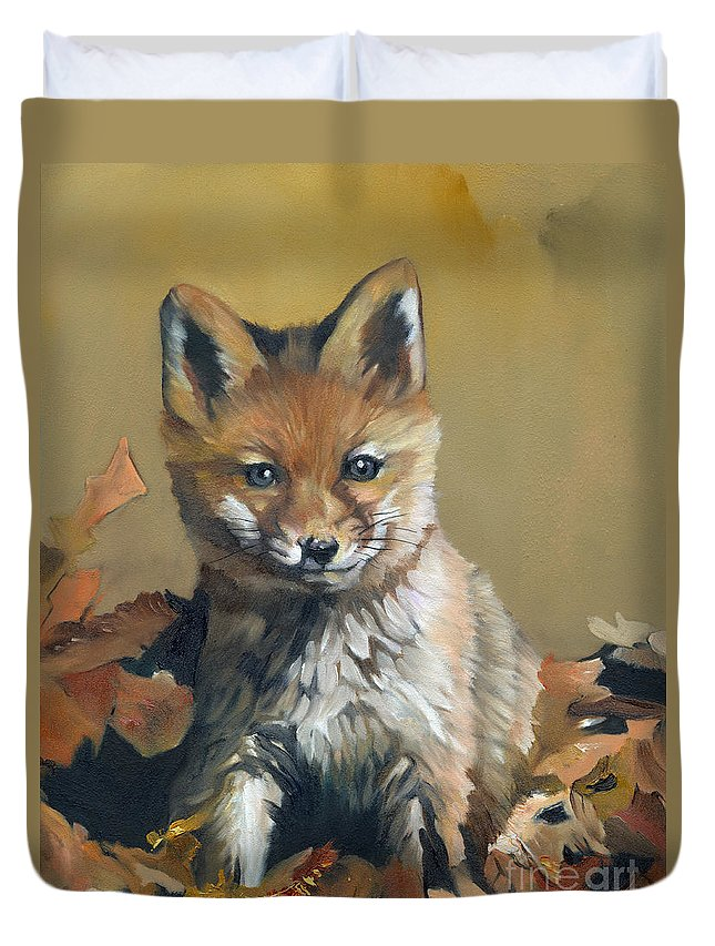 Fox Duvet Cover featuring the painting Once Upon A Time by J W Baker