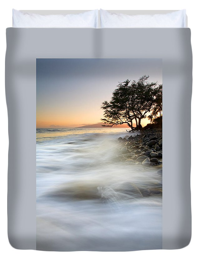 Sunset Duvet Cover featuring the photograph One Against The Tides by Mike Dawson