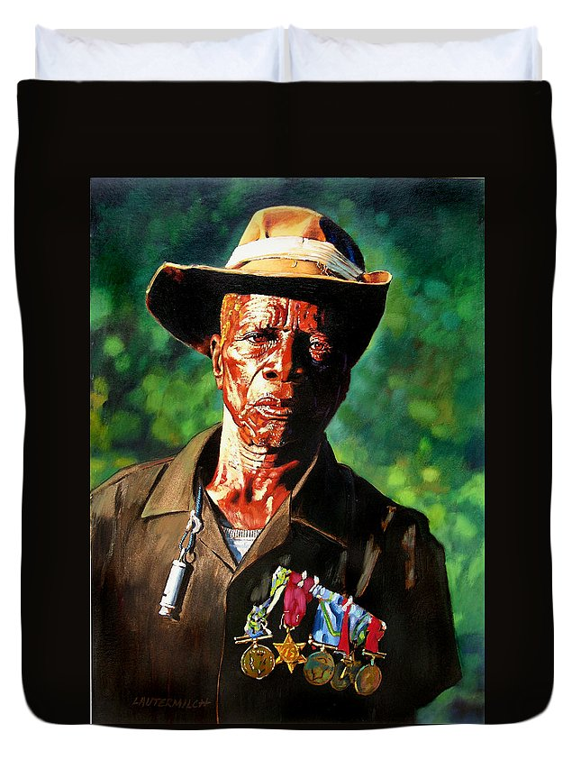 Black Soldier Duvet Cover featuring the painting One Armed Soldier by John Lautermilch