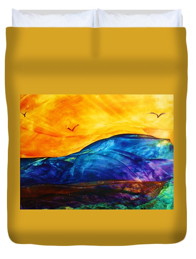 Landscape Duvet Cover featuring the painting One Fine Day by Melinda Etzold
