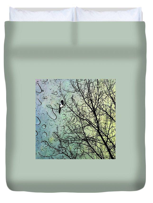 Nurseryrhymes Duvet Cover featuring the photograph One For Sorrow #nurseryrhyme by John Edwards