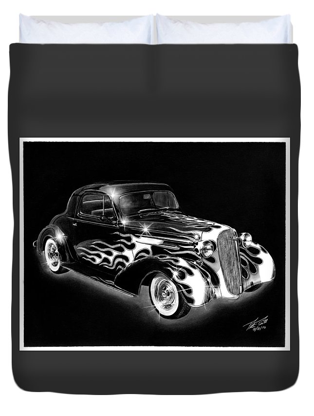 One Hot 1936 Chevrolet Coupe Duvet Cover featuring the drawing One Hot 1936 Chevrolet Coupe by Peter Piatt