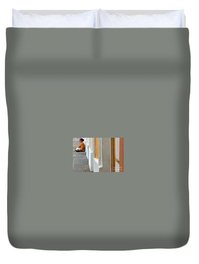 Sidewalk Duvet Cover featuring the photograph One Is The Loneliest Number by Debbi Granruth