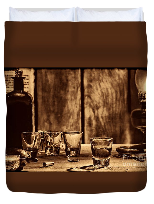 Saloon Duvet Cover featuring the photograph One Last Drink by American West Legend By Olivier Le Queinec