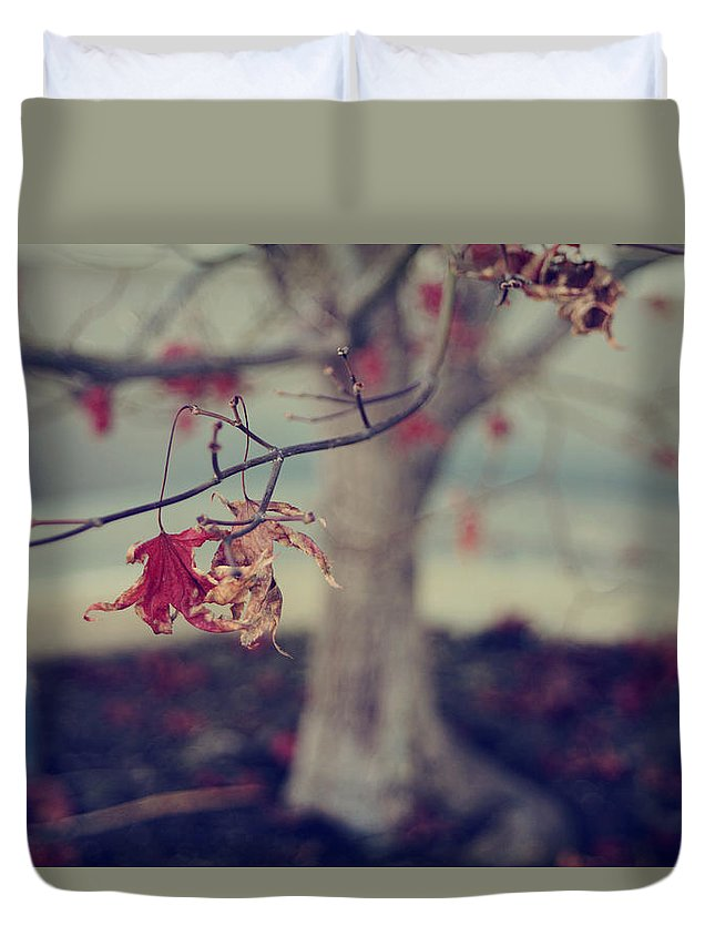 Leaves Duvet Cover featuring the photograph One Last Kiss by Laurie Search