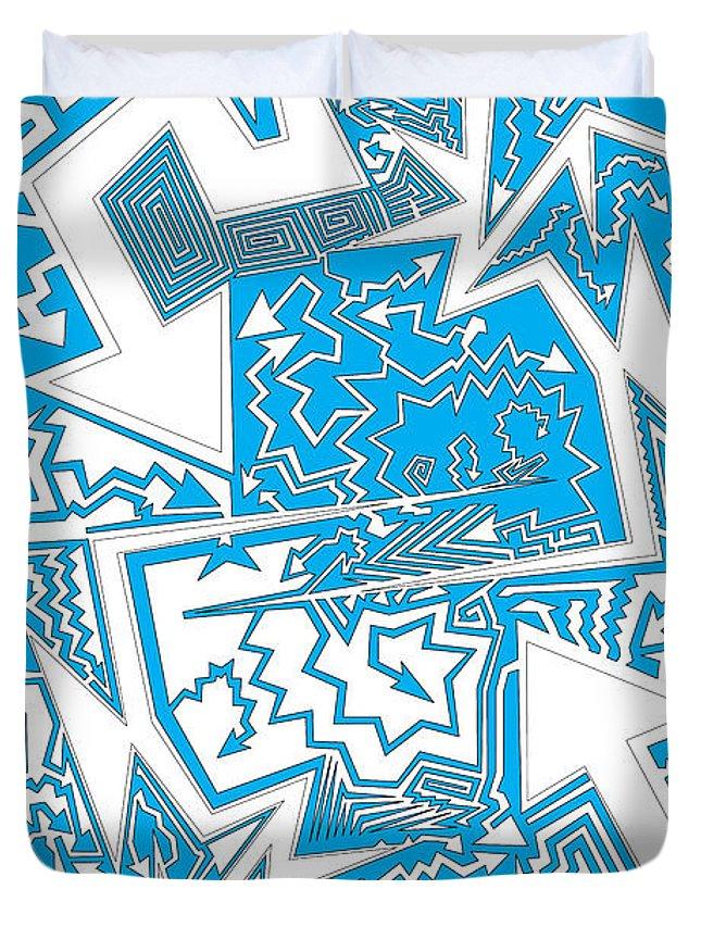Abstract Duvet Cover featuring the digital art One Liner X Jtl by Matt Danger