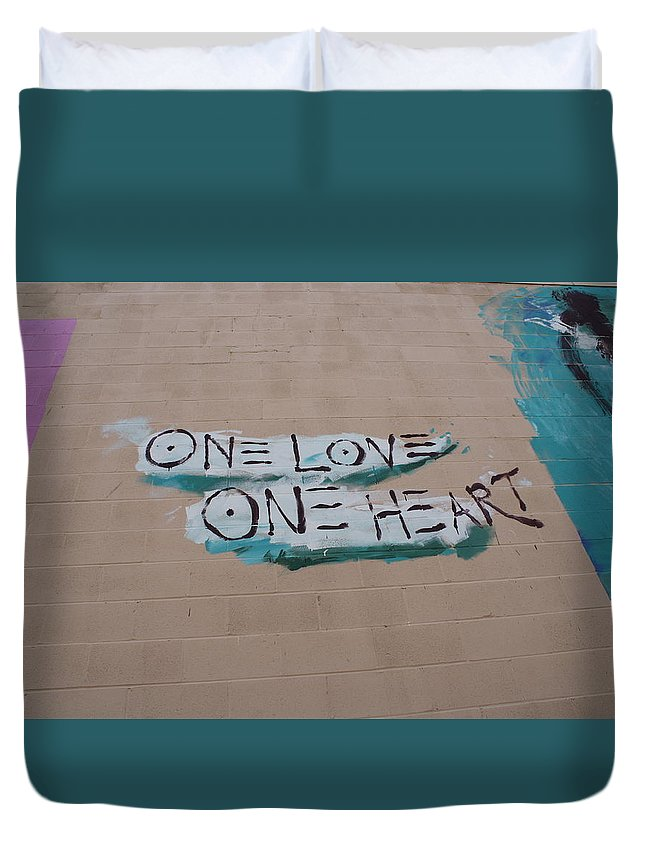 Wall Art Duvet Cover featuring the photograph One Love One Heart by Deborah Napelitano