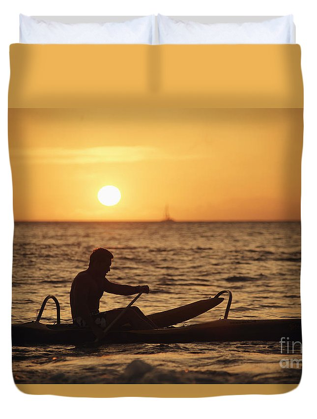 Afternoon Duvet Cover featuring the photograph One Man Canoe by Sri Maiava Rusden - Printscapes