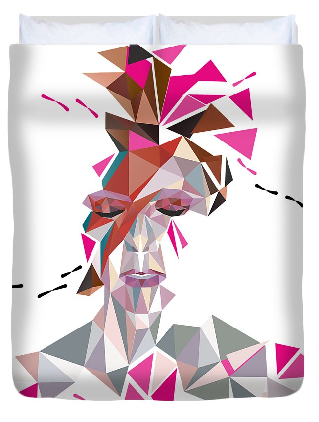 David Duvet Cover featuring the digital art One May Become Stardust by Julia Jasiczak