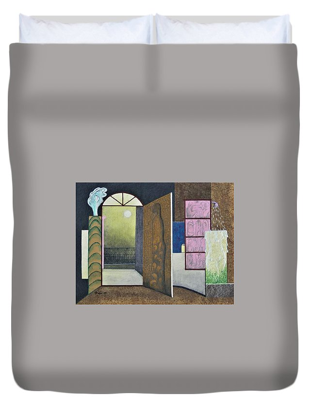 Romantic Duvet Cover featuring the painting One Moonlit Night- J-16 by Raju Bose