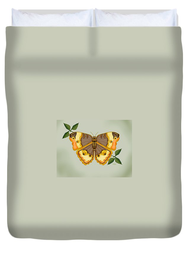 Butterfly Duvet Cover featuring the painting One More Jewel For The Garden by Anne Norskog
