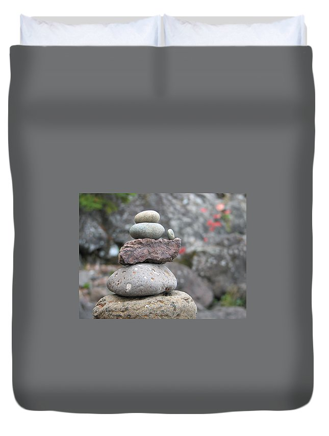 Rocks Duvet Cover featuring the photograph One More by Kelly Mezzapelle