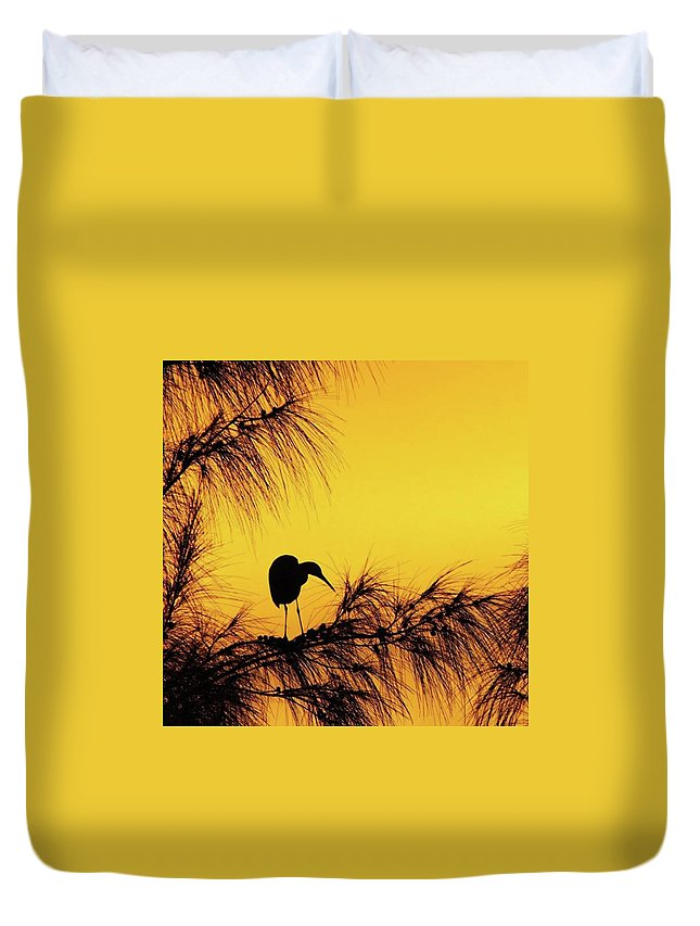 Egret Duvet Cover featuring the photograph One Of A Series Taken At Mahoe Bay by John Edwards
