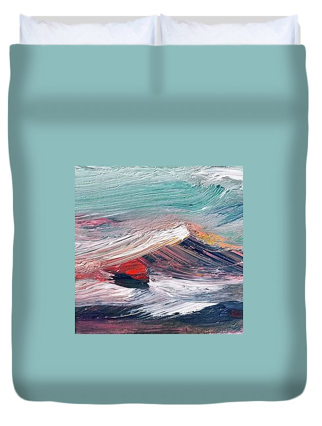 Mountain Duvet Cover featuring the painting Wave Mountain by Christian Ruckerbauer