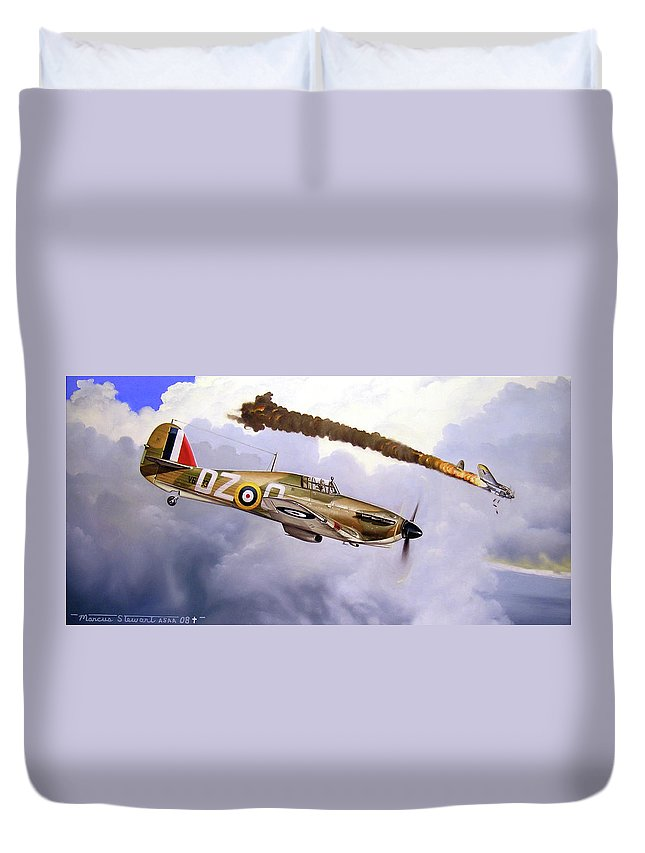 Aviation Art Duvet Cover featuring the painting One Of The Few by Marc Stewart