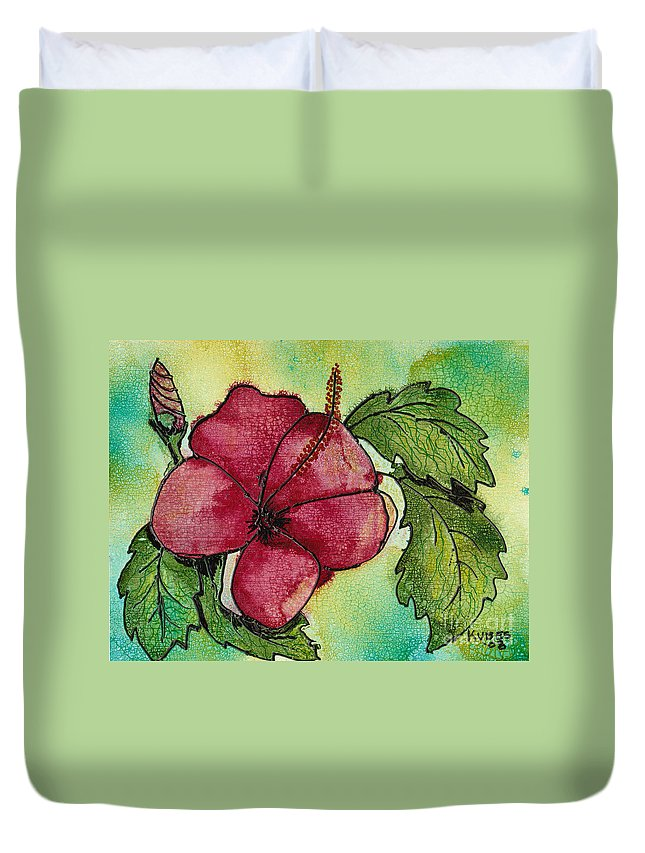 Flower Duvet Cover featuring the painting One Pink Hibiscus by Susan Kubes