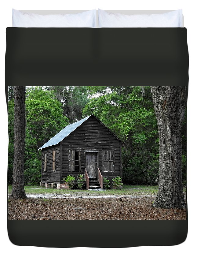Architecture Duvet Cover featuring the photograph One Room School House by Laura Ragland