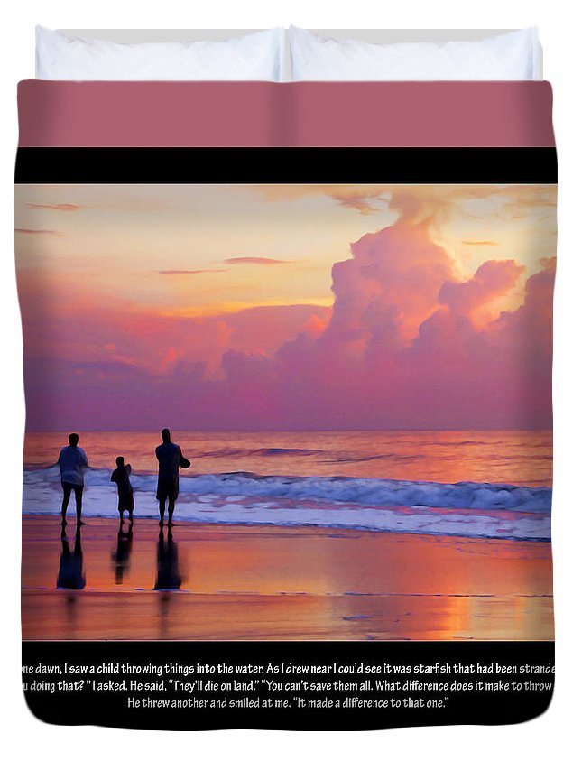 Sunrise Duvet Cover featuring the digital art One Saved by Francesa Miller