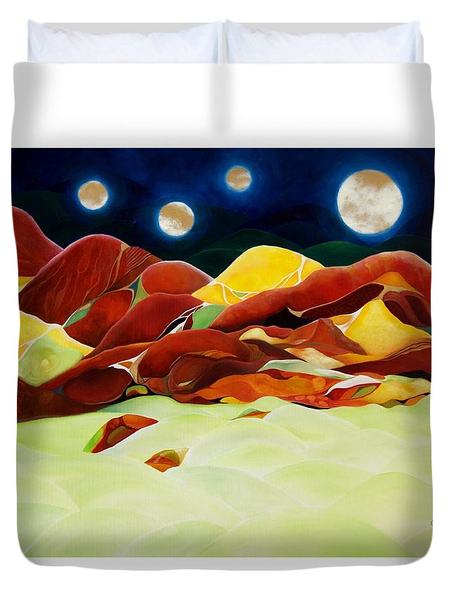 Oil Duvet Cover featuring the painting One Step Up From Third by Peggy Guichu