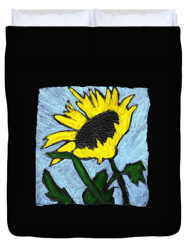 Flower Duvet Cover featuring the painting One Sunflower by Wayne Potrafka