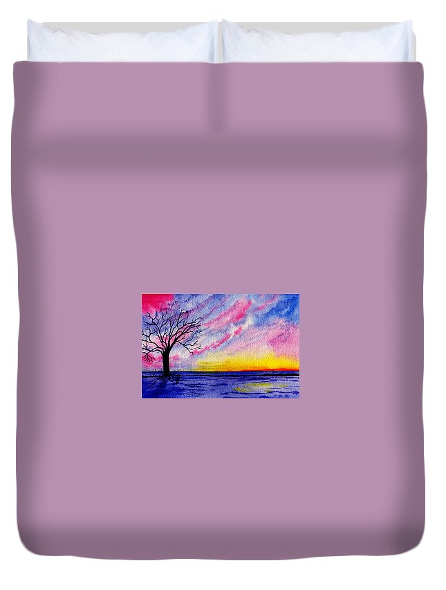 Watercolor Duvet Cover featuring the painting One Sunrise by Brenda Owen