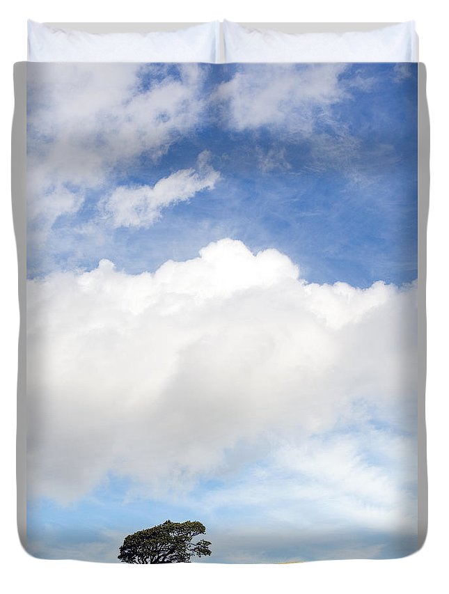 Landscape Duvet Cover featuring the photograph One Tree Hill by Mal Bray