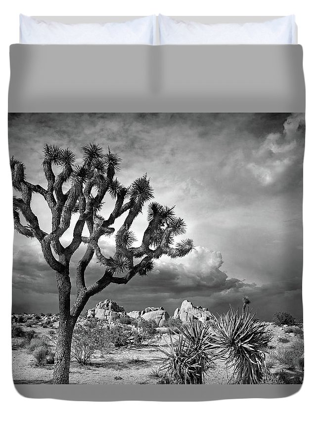 Joshua Tree Duvet Cover featuring the photograph One Tree Hill by Virginia Dickens