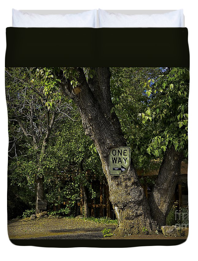 Sign Duvet Cover featuring the photograph One Way by Madeline Ellis