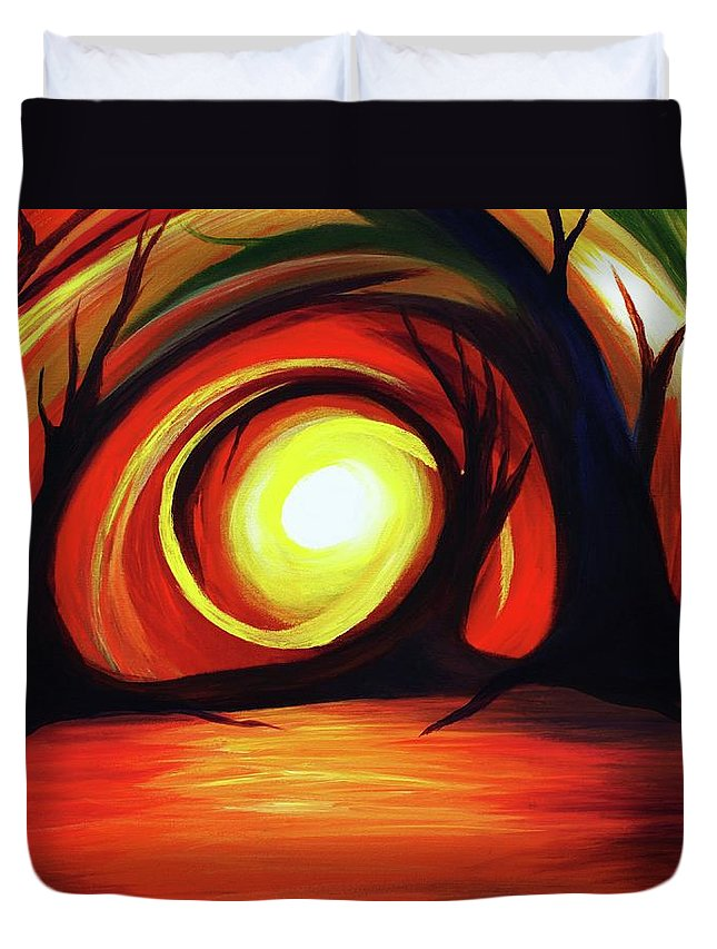 Abstract Duvet Cover featuring the painting One With Nature by Angel Reyes