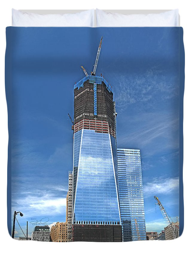 Nyc Duvet Cover featuring the photograph One World Trade by S Paul Sahm