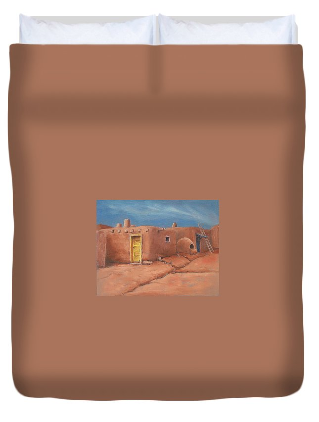 Taos Duvet Cover featuring the painting One Yellow Door by Jerry McElroy